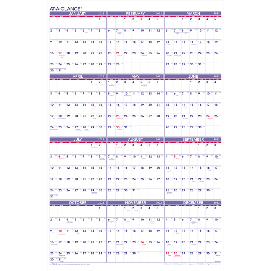Year At Glance Calendar : At a glance yearly wall calendar aagpm supplygeeks