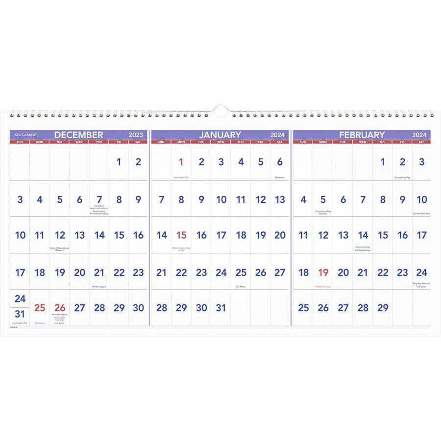 3 months calendar