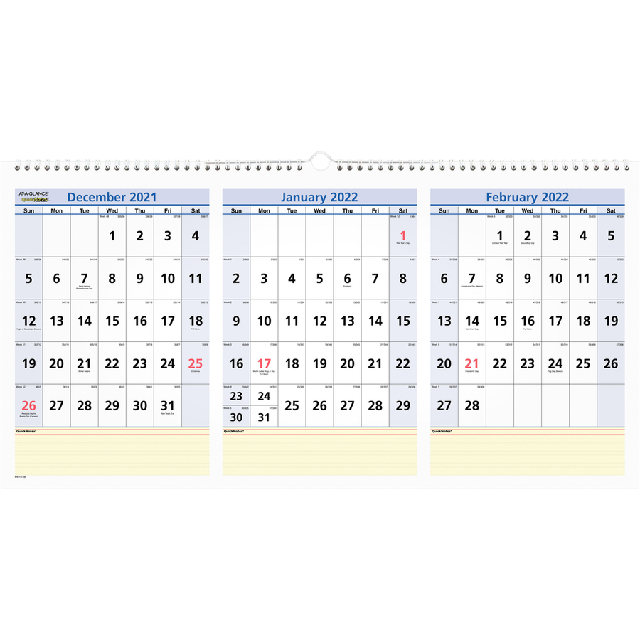 At-A-Glance QuickNotes 3-Month Horizontal Wall Calendar - DeGroot ...