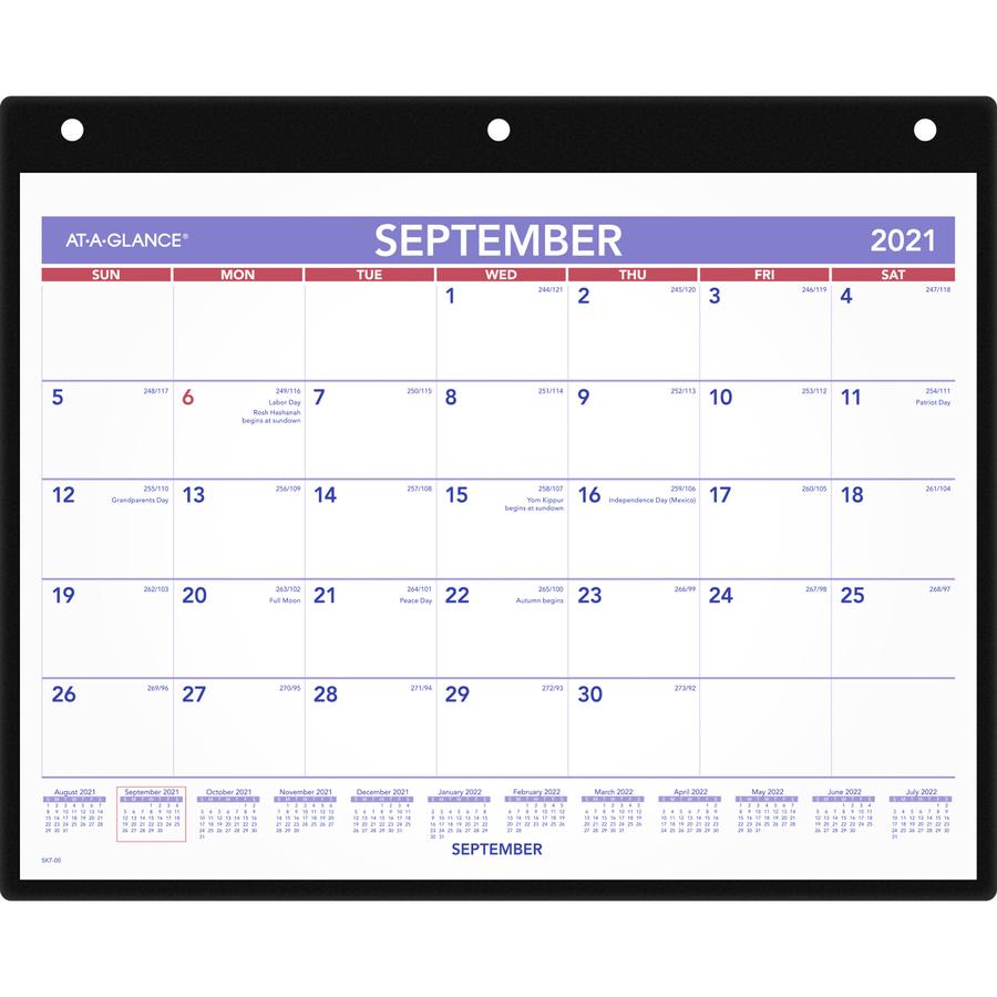 At-A-Glance Dated Wall/Desk Calendar Julian - Monthly - September 2016 ...