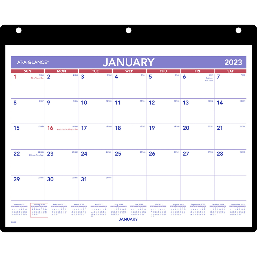 At A Glance Monthly Desk Wall Calendar With Poly Holder