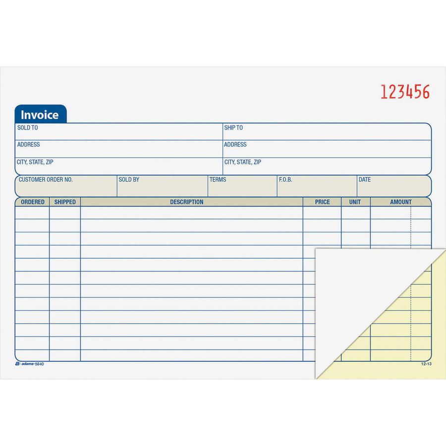 adams dc5840  adams carbonless invoice book  abfdc5840