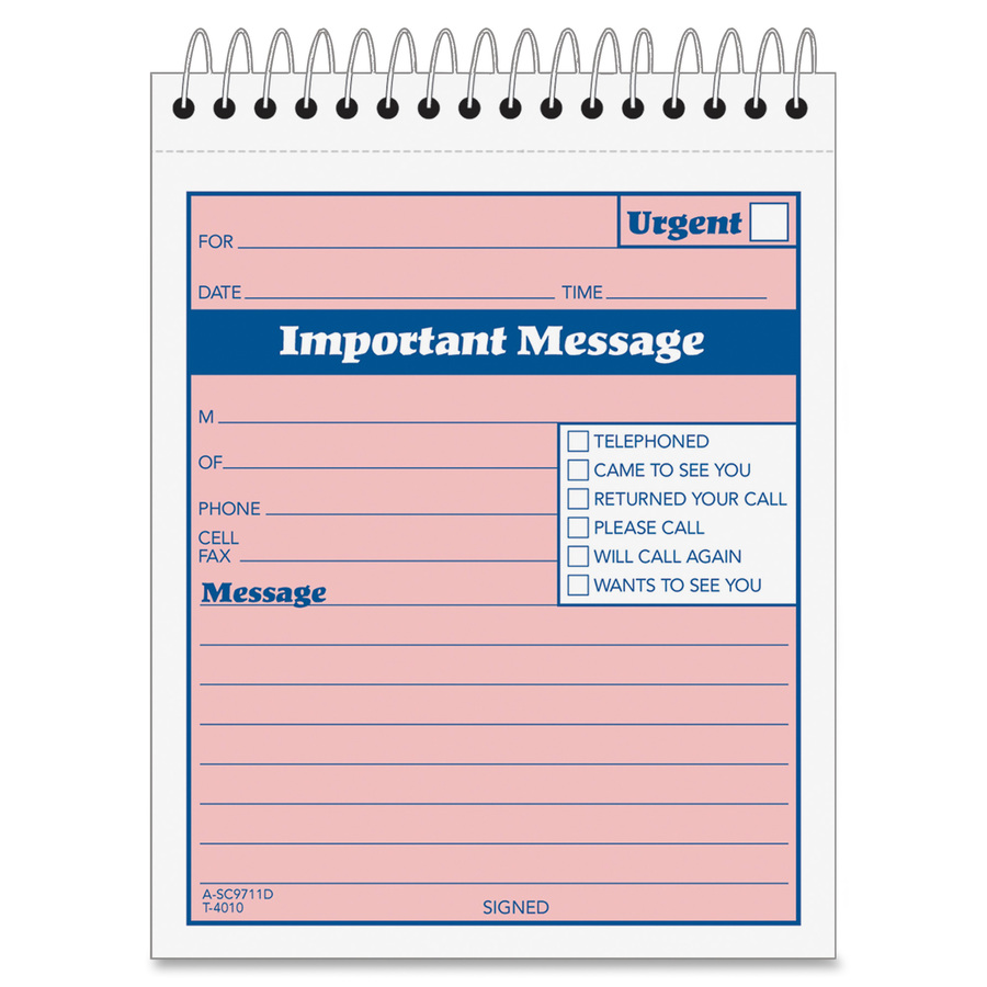 Adams Spiral Bound Phone Message Booklet Mac Papers Inc
