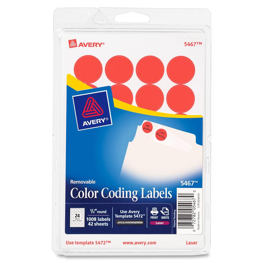 Avery Reg 3 4 Round Color Coding Labels Ave05467 Original