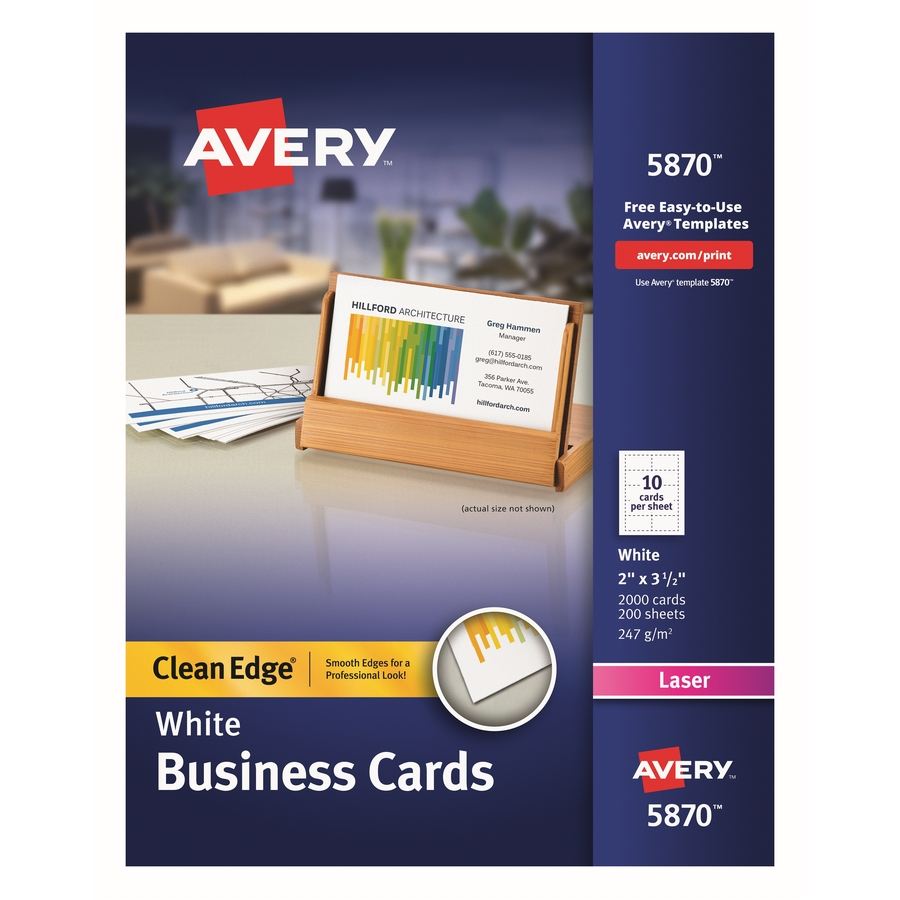 Avery Clean Edge Laser Print Business Card - Walker\'s Office Supplies