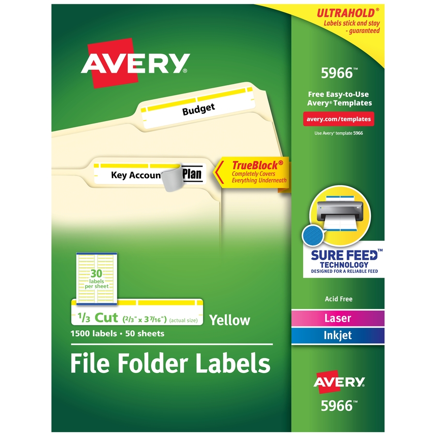 Avery Permanent File Folder Labels With Trueblock Technology Servmart
