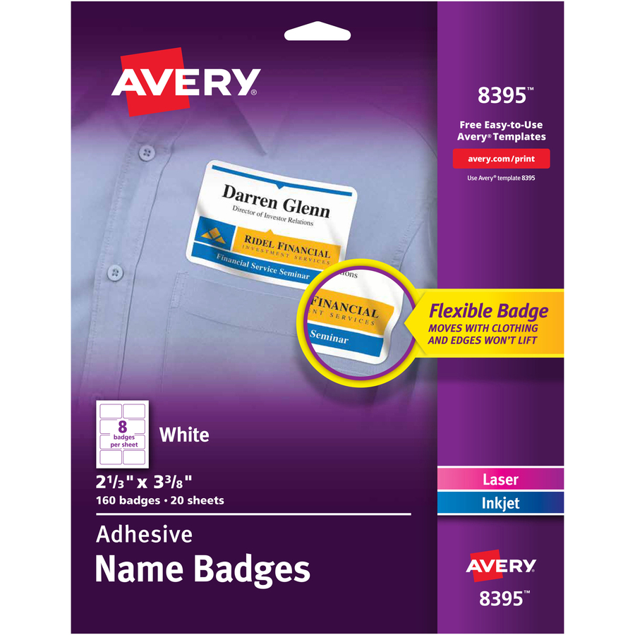 avery flexible adhesive name badge labels servmart