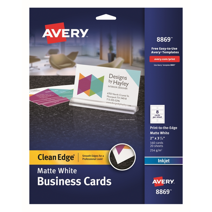 Avery Business Card 2u0026quot; x 3.50u0026quot; - Matte - 160 / Pack - White