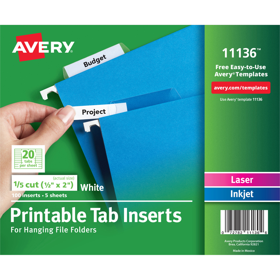 Avery Tab Inserts For Hanging File Folders Ave11136
