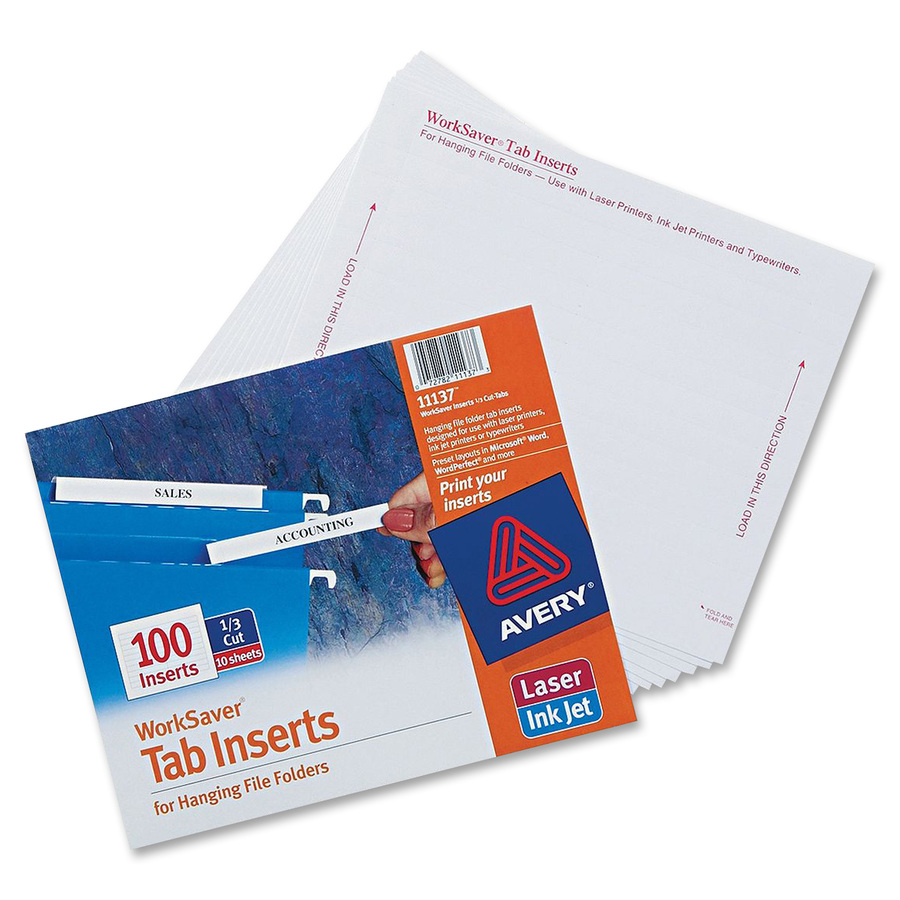 Ave11137 Avery Tab Inserts For Hanging File Folders