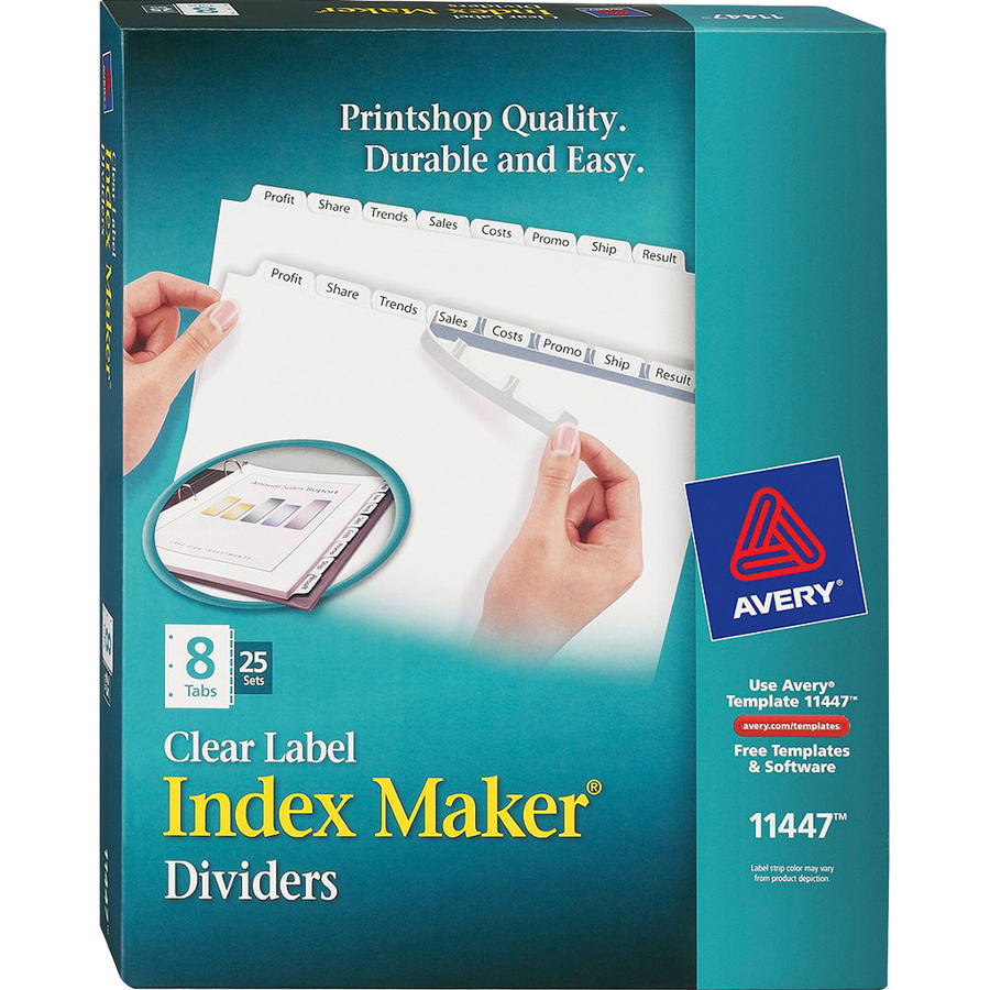 Avery® Index Maker Print & Apply Clear Label Dividers with White ...