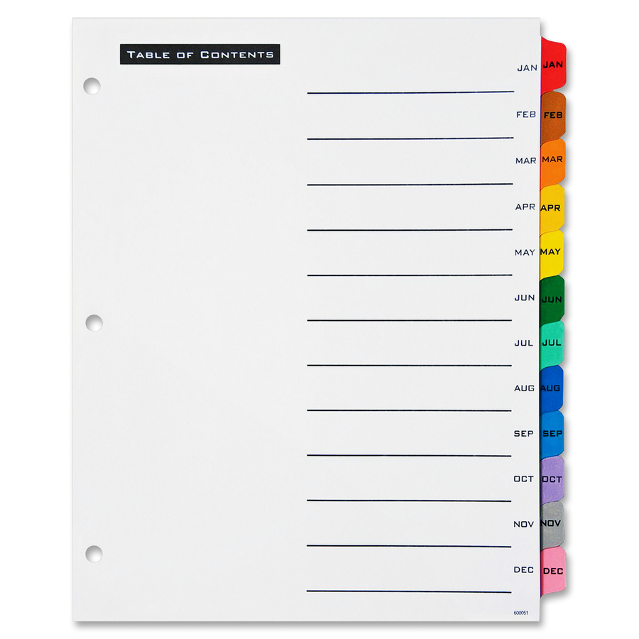 Avery office essentials table 39 n tabs dividers for Microsoft office table of contents template