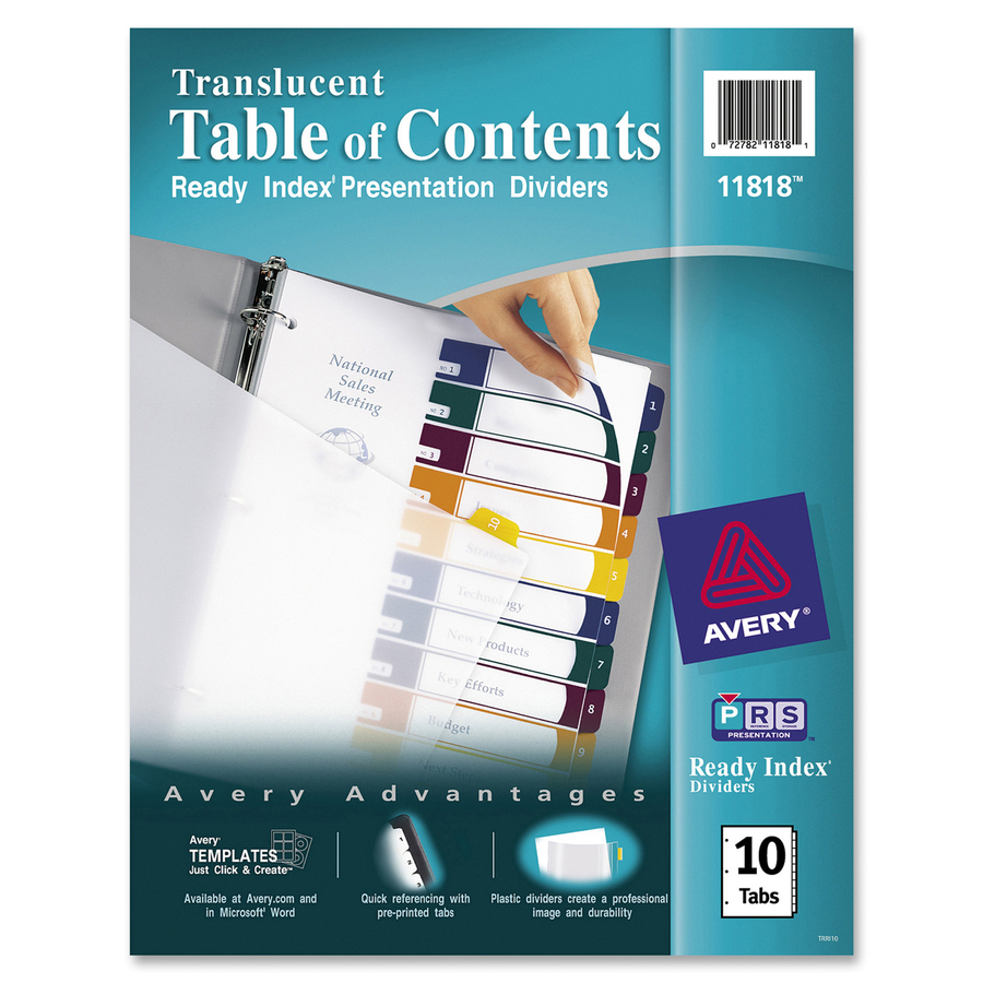 Avery Ready Index Customizable Table Of Contents Translucent - Avery ready index template