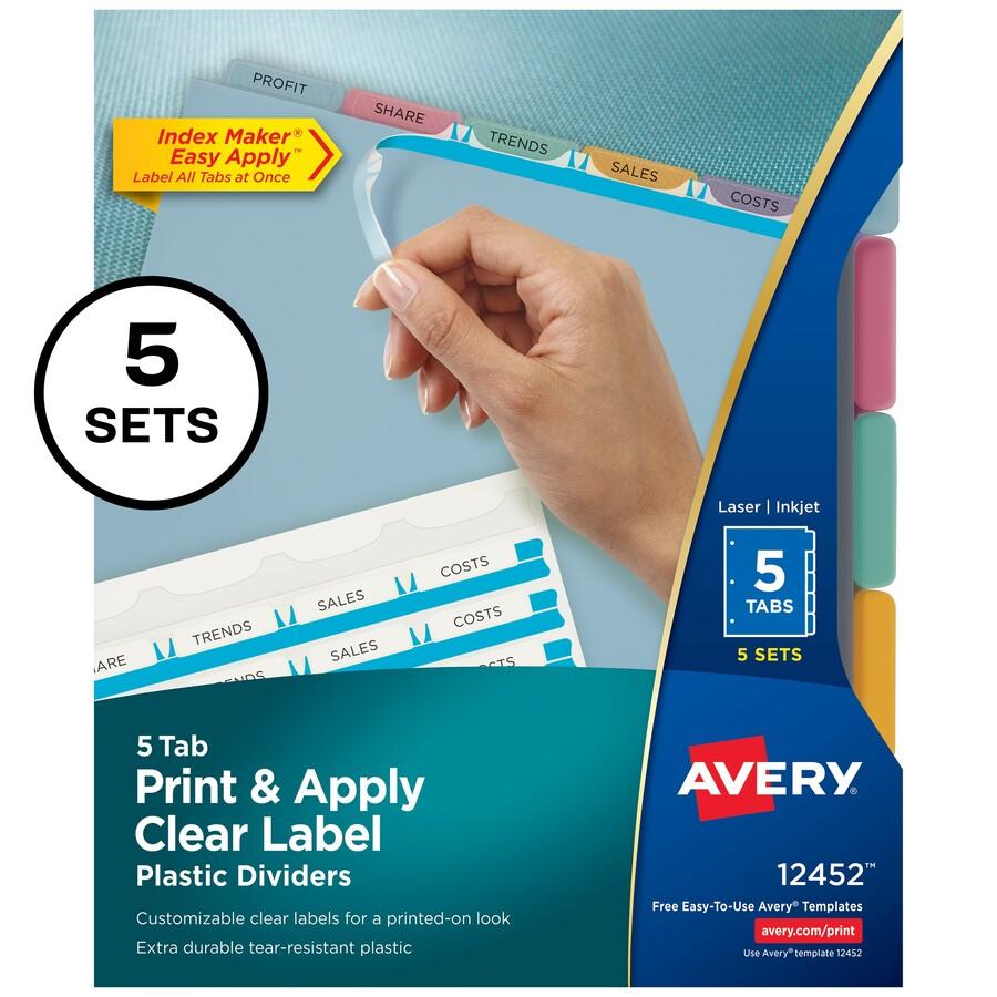 Avery Index Maker Print Apply Clear Label Plastic Dividers Servmart
