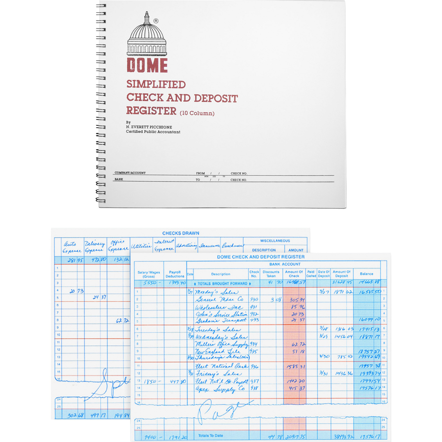 Image for Dome Enterprises Dome Check And Deposit Register - 50 Sheet(S) - Wire Bound - 10 1/4 X 8 1/2 Sheet Size - Gray Cover - Recycled - 1 Each