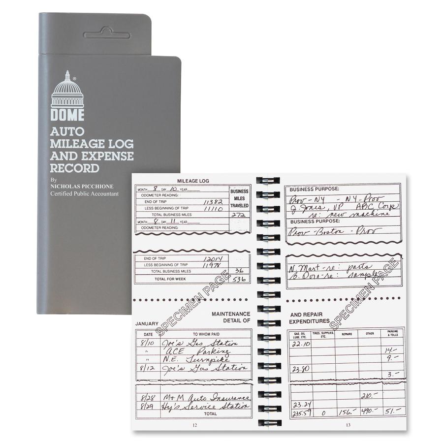 dome auto mileage expense record book mac papers inc