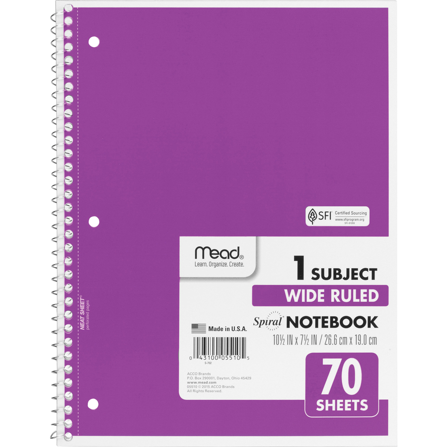 Rediform office products subject wirebound notebook wide - Mead Spiral Bound Wide Ruled Notebooks Mea05510 Original