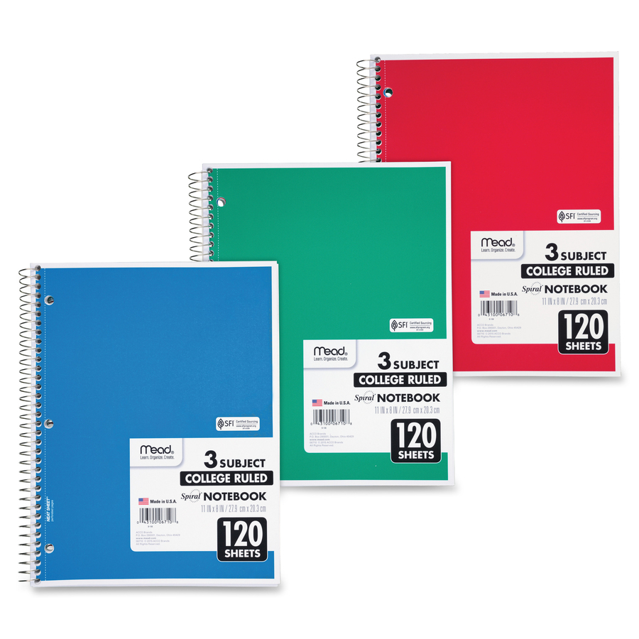 sparco 180 sheets 5 subjects college ruled free essay checking