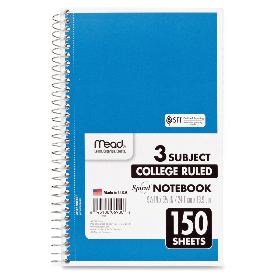 Rediform office products subject wirebound notebook wide - Mead 3 Subject Wirebound College Rule Notebook Mea06900 Alternate Image1 Original