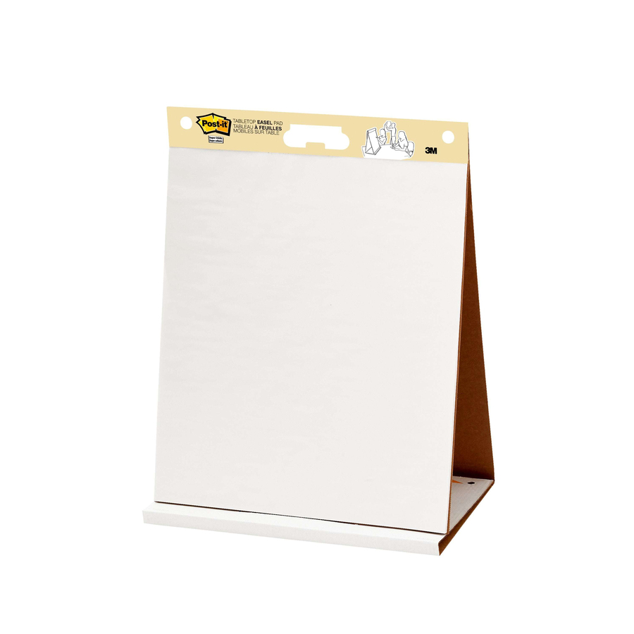3M Post-it® Tabletop Easel Pad, 20 X 23, White - 20 Sheets - Plain - Stapled - 18.50 Lb Basis Weight - 20 X 23 - White Paper - Resist Bleed-through, Self-adhesive, Perforated - 20 / Pad
