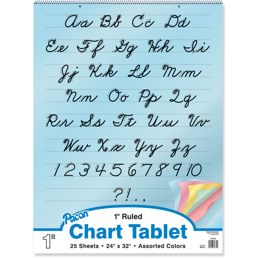 Pacon Cursive Cover Colored Paper Chart Tablet Servmart
