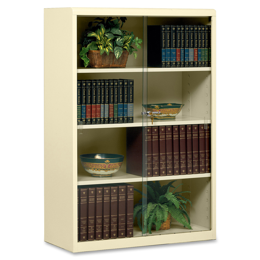 Tennsco Heavy-gauge Steel Bookcase With Glass Doors x 52