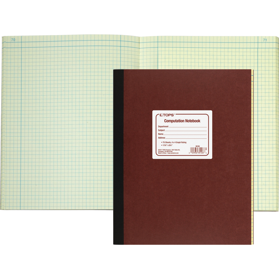 Rediform office products subject wirebound notebook wide - Tops Computation Notebook 78 Sheets Sewn Both Side Ruling Surface Ruled 9 1 4 X 11 3 4 Green Tint Paper Pressboard Cover Numbered 1each