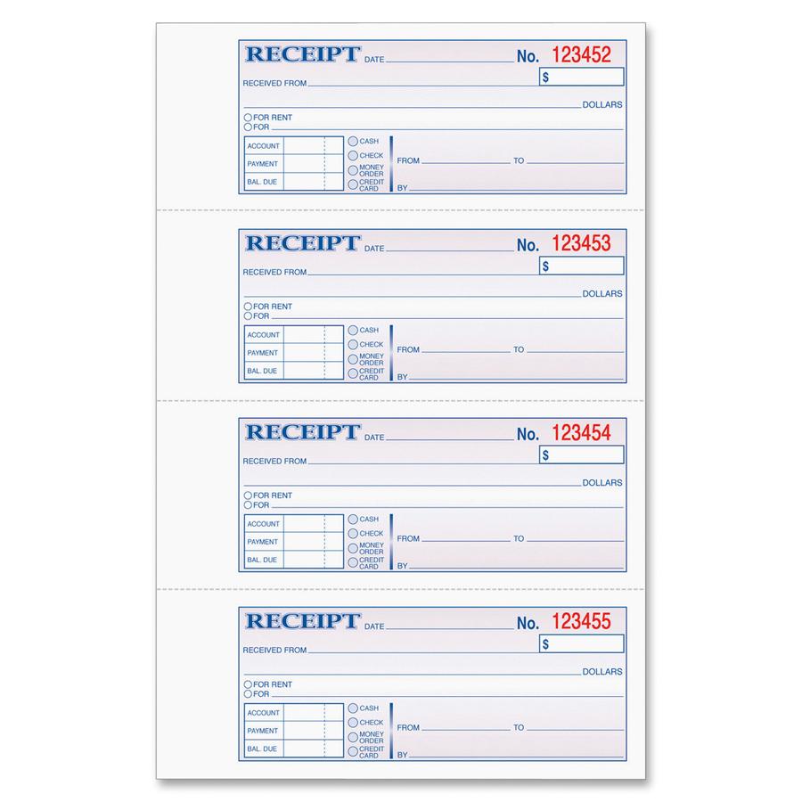 TOPS Money/Rent Receipt Book --TOP46808