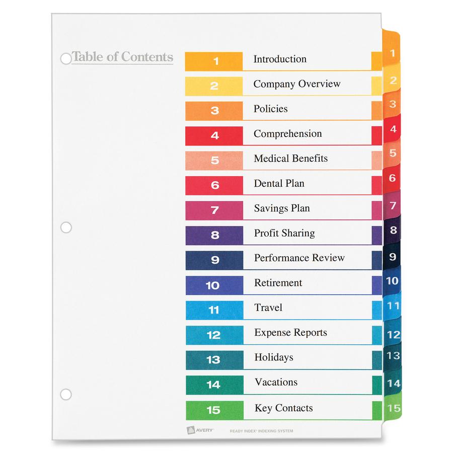 Divisor de índice Avery® Ready Index 11125 - Reparto