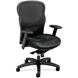 Basyx VL701 Leather Mesh Back Chair - Black Frame - Leather Black Seat