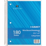 Sparco Quality Wirebound 5-Subject Notebook 83255