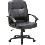Lorell Chadwick Managerial Leather Mid-Back Chair - Black Frame - Leather Black Seat