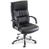 Lorell Bridgemill Executive High-Back Swivel Chair - Aluminum Frame - Leather Black Seat