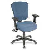 Lorell Accord Mid-Back Task Chair - Black Frame - Foam Blue Seat
