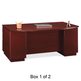 Bush Milano Double Pedestal Bow Front Desk