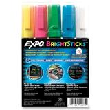 Sanford Bright Stick Marker Set - Pink Ink, Blue Ink, White Ink, Yellow Ink, Green Ink - Assorted Barrel - 5 / Set