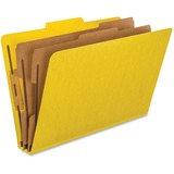 Esselte Classification Folder - Legal - 8.5' x 14' - 2/5 Tab Cut - 2 Divider - 2' Expansion - 6 Fastener - 2' Capacity - 10 / Box - 20pt. - Yellow