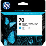 HP No. 70 Matte Black and Cyan Printhead - C9404A