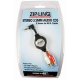 Cables Unlimited Ziplinq Retractable 3.5mm to 2 RCA Black Audio Cable