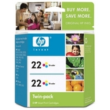 HP No. 22 Twinpack Tri-color Ink Cartridge