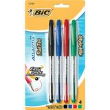 BIC Atlantis Stick Ballpoint Pen - 1.2 mm Pen Point Size - Assorted Ink - Clear Barrel - 4 / Pack