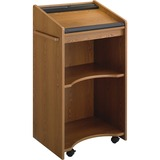 Executive Mobile Lectern, 25-1/4w x 19-3/4d x 46h, Medium Oak  MPN:8918MO