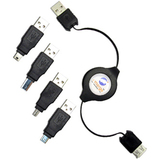 Emerge Retractable USB 2.0 A-Male to A-Female Cable with 4 Interchangeable Adapter Tips