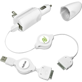 Emerge Retractable 5-in-1 iPod Travel Charger (White)