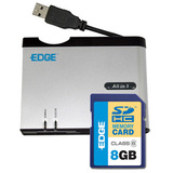 EDGE Tech 8GB SDHC Card and All-in-one Reader Kit