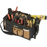 Steren 15 Pocket Tool Bag with 16' Center Tray Compartment - 10' x 11' x 16' - Fabric - Black, Brown