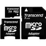 Transcend 2GB microSD card with 2 Adapters
