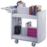 Safco Molded Book Cart - 2 Shelf - 400 lb Capacity - 4 x 4 Caster - Polyethylene - 45 x 23 x 37 - Light Gray