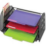 Safco Mesh Desktop Organizer with Sliding Tray - 8' x 17.25' x 9' - 1 Pocket(s) - Black