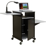 Balt Extra Wide Presentation Cart With Cabinet - Gray